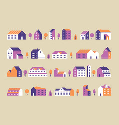 Minimalism town buildings geometric minimal vector