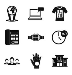 Modern technology icon set simple style vector