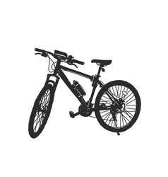 Mountain bike with gear shifting black silhouette vector