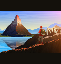 mountain matterhorn with tourist morning vector image