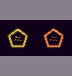 neon pentagon frame in yellow and orange color vector image
