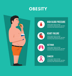 Obesity fat man eating junk food vector