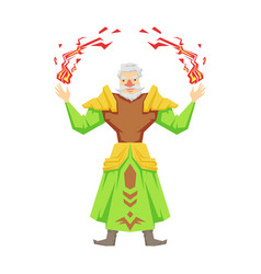 old bearded magician making magical passes vector image
