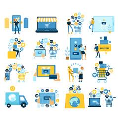 online shopping flat set vector image