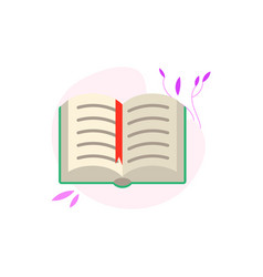 Open book with green hardcover and paper pages vector