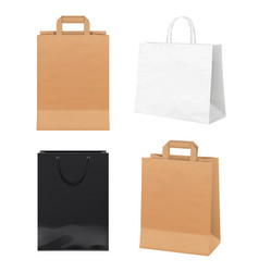 paper bags empty store packages white black and vector image