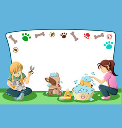 Pets grooming advertisement vector