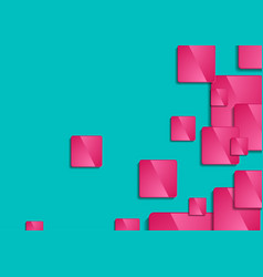 pink glossy squares on turquoise background vector image