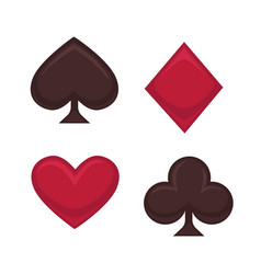 Playing card symbols collection in red and brown vector