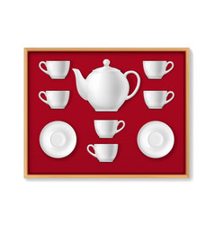 realistic ceramic tea set tea cups pot mugs vector image