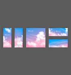 realistic pink-blue sky vector image