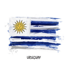 realistic watercolor painting flag of uruguay vector image