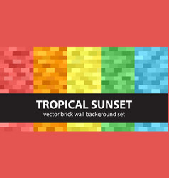 rectangle pattern set tropical sunset seamless vector image