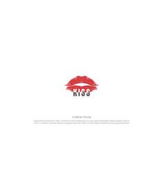 Red hot sexy lip kiss logo design vector