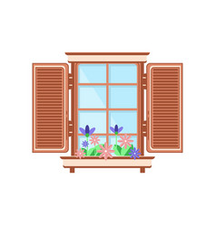 retro wooden window with shutters and plants vector image