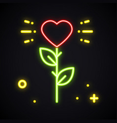 rose neon sign bright flower with heart shape in vector image
