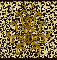 seamless leopard pattern with golden ribbons vector image