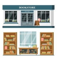 Set detailed flat design bookstore vector