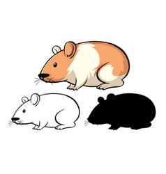 Set hamster cartoon vector