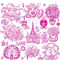 set hand drawn love sketchy vector image