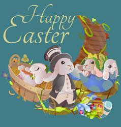 set of easter chocolate egg hunt bunny basket on vector image