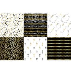 Set of gold doodle decoration christmas patterns vector image
