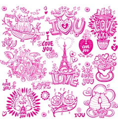 Set of hand drawn love sketchy vector image