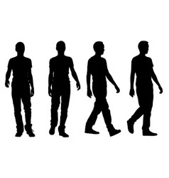 Silhouettes of walking people vector