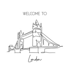 single continuous line drawing tower bridge vector image