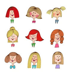 Smile girls retro icons vector image