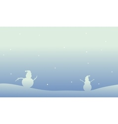 Snowman christmas theme of scenery vector image