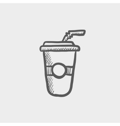 Soda in plastic cup with straw sketch icon vector