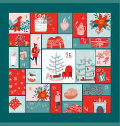 Square advent calendar with christmas elements vector