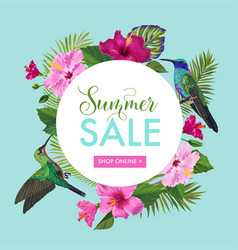 Summer sale banner with tropical flowers and birds vector