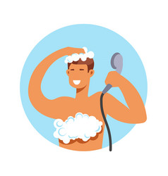 Taking shower man in foam washing hair and body vector