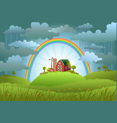 The rainbow protects the small farm vector