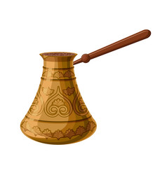 Turkish traditional decorated copper cezve vector
