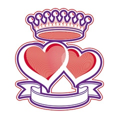 Two loving hearts with imperial crown Royal vector image