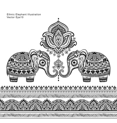 vintage graphic indian lotus ethnic vector image