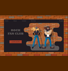 Website template for fans rock music or a band vector