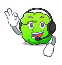 With headphone shrub mascot cartoon style vector