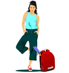 Woman tennis player with back sack vector