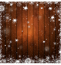wooden brown christmas background with snowflakes vector image