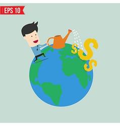 Businessman watering money - - EPS10 vector image vector image