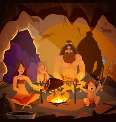 caveman family cartoon vector image vector image