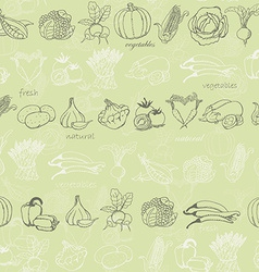 Kitchen seamless pattern with vegetables on light vector image vector image