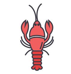 lobster flat line concept vector image
