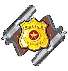two handgun badge vector image