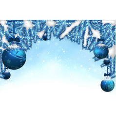 blue christmas background with baubles vector image vector image