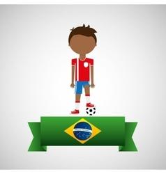 cartoon football player brazilian label vector image vector image